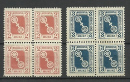 GERMANY O 1890 MAINZ Privater Stadtpost Local City Post 2 & 3 Pf As 4-blocks (*) - Poste Privée