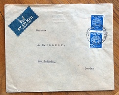 ISRAEL PALESTINE  20 M (5) Pair ENVELOPE PAR AVION FROM TEL AVIV  TO ESKILSTUNA  SWEDEN  1948   BBB - Israele