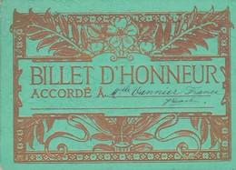 """BILLET D'HONNEUR 10 X 14 (Décor """"Art Nouveau """" ) Accordé à Mlle France VANNIER - Old Paper"""