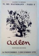 AFFICHE ANCIENNE ORIGINALE LITHOGRAPHIE EXPOSITION ADLEN 1970 Galerie Benezit Paris 8è - Affiches