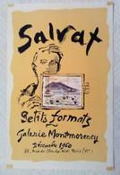 AFFICHE ANCIENNE ORIGINALE EXPOSITION SALVAT 1960 Galerie Montmorency Paris 6è - J. Grou-Radenez - Affiches