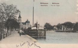 Rare Cpa Mulhouse Port Du Canal Avec Péniche Illmuhle 2 - Mulhouse