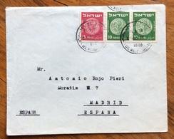 ISRAELE 10+10 +15 P  ENVELOPE COVER  FROM TEL AVIV  TO MADRID ESPANA   1952   BB - Israele