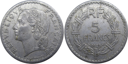 France - GPRF - 5 Francs 1945 B Lavrillier, Aluminium - France