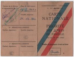 VANVES (92) CARTE NATIONALE DE PRIORITE Des MERES De FAMILLE. 1944. CACHET MAIRIE De VANVES. - Historische Dokumente