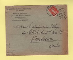 Daguin Mixte - Troyes - Aube - 1913 - Type Semeuse Perfore CN Comptoir National D Escompte - Marcophilie (Lettres)