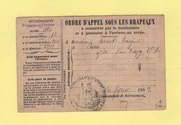 Ordre D Appel Sous Les Drapeaux - 1909 - Paris - Clermont Ferrand - 82e Regiment D Infanterie - Marcophilie (Lettres)