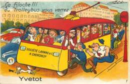 76 - YVETOT - Carte à Systeme (manque Les Vues) - Ca Filoche ! Trolleybus 1949 - Yvetot