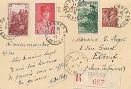 Entier Postal 0,80 Iris Type 1 Recommandé 3 Janvier 1941 - Marcophilie (Lettres)