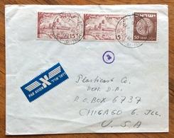 ISRAELE 50+15 Pair   ENVELOPE COVER PAR AVION  FROM TEL AVIV  TO  CHICAGO   U.S.A. 1951 - Israele