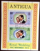 Antigua 1973 Royal Wedding Minisheet FU - Antigua And Barbuda (1981-...)
