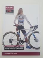 Cp Carte 2018 2019 Annemarie Worst Cyclo Cross Signé Cyclisme Cycling - Cyclisme