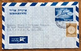 ISRAELE AEROGRAMME 100 + 80   FROM TEL AVIV  TO  CHICAGO   U.S.A. 1954 - Israele