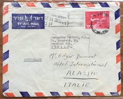 ISRAELE UPU  80 P. COVER PAR AVION   FROM TEL AVIV  TO ZURICH  AND TO ALASSIO ITALY  1949 - Israele