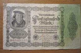 · Billet, Allemagne, 50.000 Mark  -  Ft: 19 X 11 Cm - 1922, - [ 3] 1918-1933 : République De Weimar