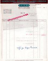 19 - BRIVE -CBBL- CONFECTIONS BONNETERIE DU BAS LIMOUSIN- 11 BD COLONEL GERMAIN- 1948 - France
