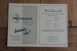 HOTEL GRÜNWALD / PLAN DE VILLE DE MÜNCHEN / DIVERS PUBLICITES: OPEL-HÄUSLER RHEIN-MAIN-BANK... - Cartes De Visite