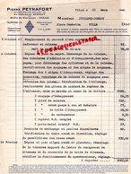 19- TULLE- RARE FACTURE PIERRE PEYRAFORT-CONCESSIONNAIRE AUTOMOBILES RENAULT-ROUTE DE CLERMONT-1948 - Cars