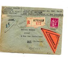 Lettre Recommandee Contre Remboursement Octeville Sur Paix - Marcophilie (Lettres)