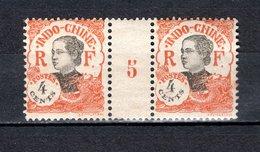INDOCHINE N° 103 PAIRE MILLESIME 5  NEUF SANS CHARNIERE COTE  36.00€  ANNAMITE  VOIR DESCRIPTION - Unused Stamps