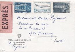 France EXPRÉS Label AMBASSADE DE SUISSE, PARIS 1969 Cover Lette FRIBOURG Switzerland (Arr. Cds.) Europa CEPT (2 Scans) - France