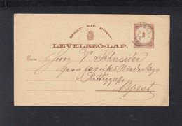 Hungary Stationery 1876 Tallya To Budapest - Hungary