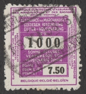 Travel Insurance STAMP / Belgium - Revenue Tax Stamp - Used - Timbres