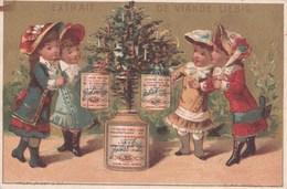 Vers 1895 Extrait De Viande Liebig : Arbre De Noel , Fillettes , Femme ,chapeau - Liebig