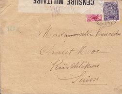 Belgium Postes Militaire LEGERPOSTERIJ (4.) 1917 Cover Brief RÜSCHLIKON Schweiz CENSURE MILITAIRE Censor Label - Belgien