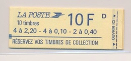 Carnet Liberte De Delacroix N° 1501 10 Tbres 10F Réservez Vos Timbres De Collection Cote 12€ Ouvert - Carnets