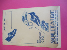 Buvard/ Cirage/ SOLITAIRE/une Seule Goutte Suffit / Double La Durée De Vos Chaussures/ Vers 1940-1960    BUV322 - Wassen En Poetsen