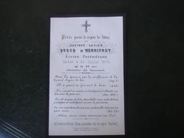 Image Pieuse Avis De Décès Gustave Lucien Quecq D' Henripret écuyer 1876 - Décès