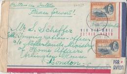 PAE N° 34 (2x) / Lettre CENS UREE De CURACAO / WILLEMSTAD / 19.3.45-> Londres /7.4.454 + Bde De CENSURE - Curaçao, Antilles Neérlandaises, Aruba