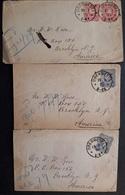 DR - 3 Briefe Mi.33 Paar/ Mi.34 EF - Alle Gelaufen Von Oberwesel Nach Brooklyn (Amerika) Klare Stempel (768) - Deutschland