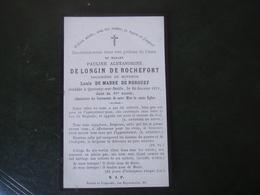 Image Pieuse Avis De Décès Pauline Alexandrine De Longin De Rochefort 1879 - Décès