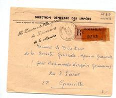 Lettre Franchise Recommandee Saint Lo Curiosite Lieu Etiquette Cachet - Marcophilie (Lettres)