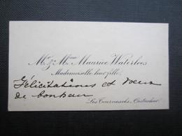 CARTE DE VISITE (M1611) Mr & Mme MAURICE WATERLOOS - Mademoiselle Leur Fille (2 Vues) LES TOURNESOLS - OOSTACKER - Visiting Cards