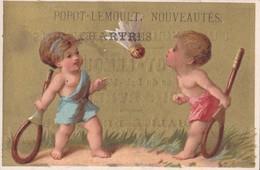 Vers 1895 PARTIE DE BADMINGTON (volant ,raquettes) (publicité Popot-Lemoult à Chartres) - Cartes Postales