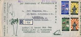 1966 , ZANZIBAR , SOBRE DE PRIMER DIA CERTIFICADO , 2ND. ANIVERSARIO DE LA REVOLUCIÓN EN ZANZIBAR - Zanzibar (1963-1968)