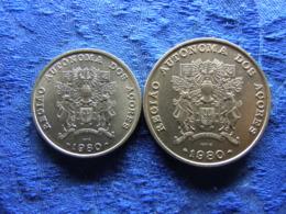 AZORES 25 ESCUDOS 1980 KM43, 100 ESCUDOS 1980 KM44 - Açores
