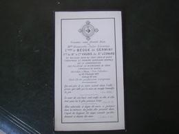 Image Pieuse Avis De Décès Henriette Comtesse Le Bégue De Germiny 1871 - Décès