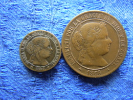 SPAIN 1/2 CENTIMO 1868 4 Pointed Stars KM632.2, 2,5 CENTIMOS 1868 3 Pointed Stars, Cleaned KM634.4 - [ 1] …-1931 : Royaume