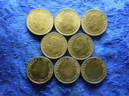 SPAIN 1 PESETA 1975 (76-80) KM806, 1980 (80-82) KM816 (8) - [ 5] 1949-… : Royaume