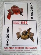 AFFICHE ANCIENNE ORIGINALE EXPOSITION CASQUES JAPONAIS Galerie Burawoy Iles Saint Louis ORIENT ASIE - Affiches