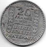 *france 20 Francs 1933  LL Km 879  Xf - France