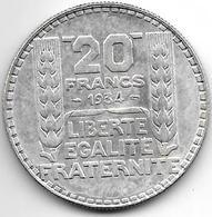*france 20 Francs 1934  SL Km 879  Xf+ - France