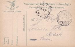 FRANCHIGIA MILITARE - 4 REGGI.ALPINI, BATTAGLIONE LEVANNA - CORRSP. DEL R. ESERCITO DESTINATA  PER AZZATE (VARESE ) - 1900-44 Vittorio Emanuele III