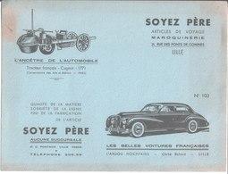 Maroquinerie Voyage Soyez Père Lille. Buvard N° 103. L'Anjou Hochtkiss Tracteur Français Cugnot - Buvards, Protège-cahiers Illustrés