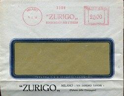 42767 Italia, Red Meter Freistempel Ema, 1950 Milano,  Zurigo Succursale Per L'italia - Machine Stamps (ATM)