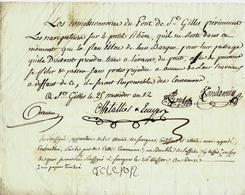 1804  PONT DE ST GILLES Gard  NAVIGATION PETIT RHONE  DIFFICULTES DECHARGE DE RESPONSABILITE  COMMISSIONNAIRES - Historical Documents